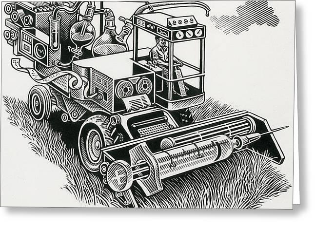 Processor Greeting Cards - Industrial Farming Greeting Card by Bill Sanderson