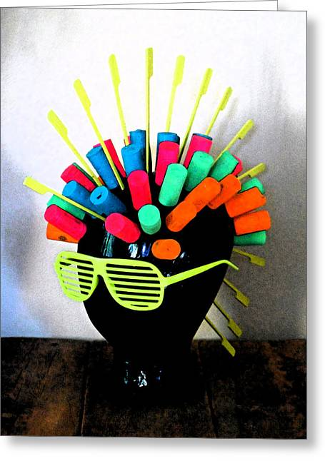 Style Sculptures Greeting Cards - Industrial Head Greeting Card by Cyryn Fyrcyd