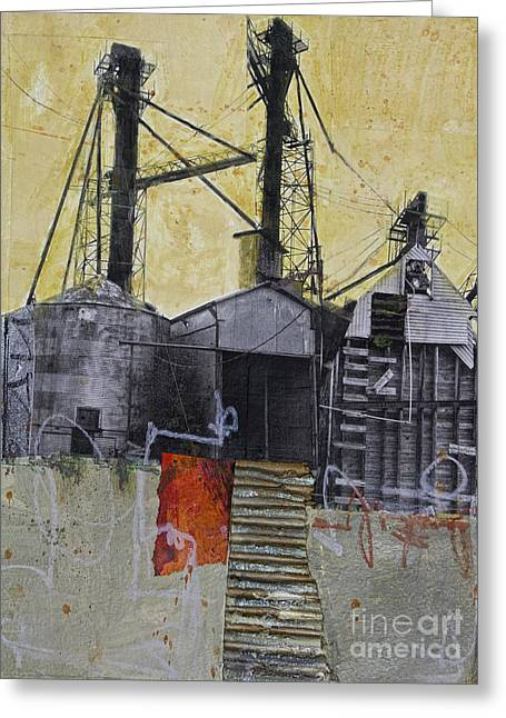 Red Buildings Mixed Media Greeting Cards - Industrial landscape 1 Greeting Card by Elena Nosyreva