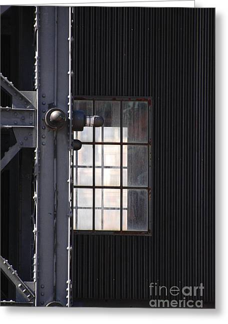 Urbano Greeting Cards - Industrial Urban Window Greeting Card by adSpice Studios