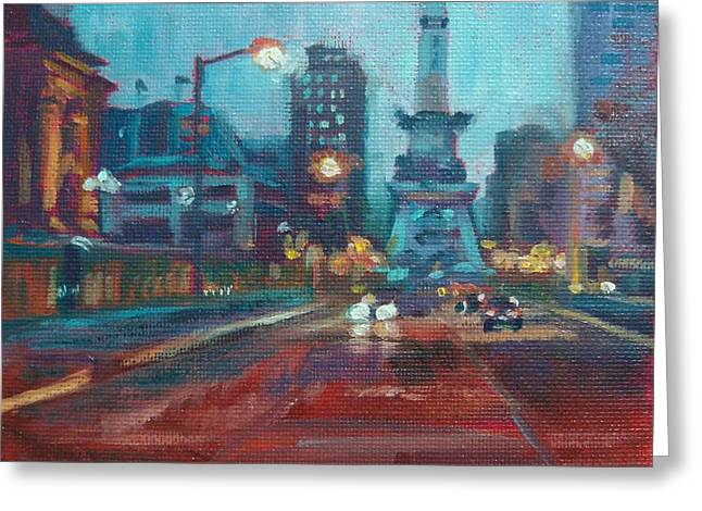 Indy Circle Night Greeting Card by Donna Shortt