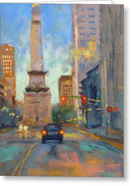 Donna Shortt Greeting Cards - Indy Monument at Twilight Greeting Card by Donna Shortt