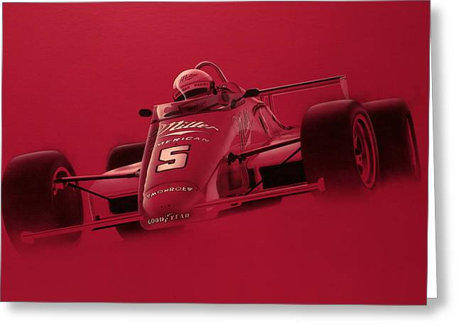 Duo Tone Greeting Cards - Indy Racing Greeting Card by Jeff Mueller