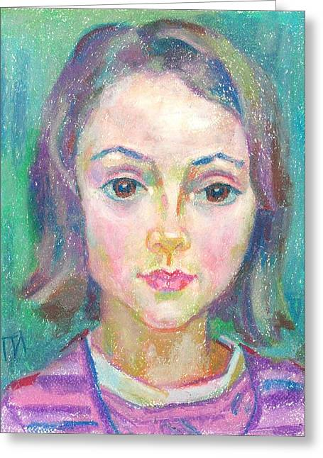 Pastel Greeting Cards - Ines Manonelas Greeting Card by Leonid Petrushin
