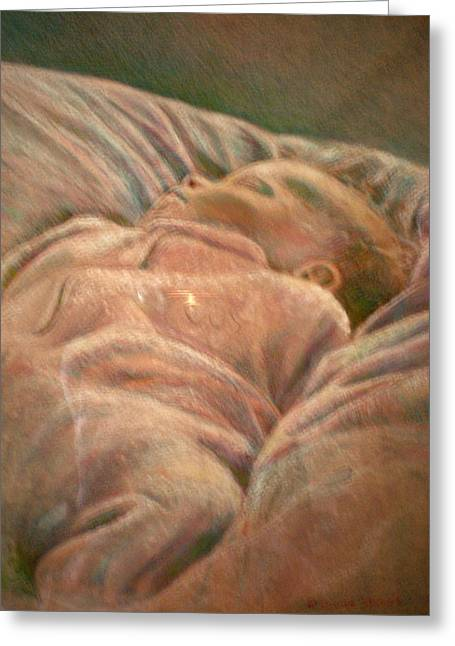 Human Being Pastels Greeting Cards - Infant in the Dawn Light of January Greeting Card by Diane Woods