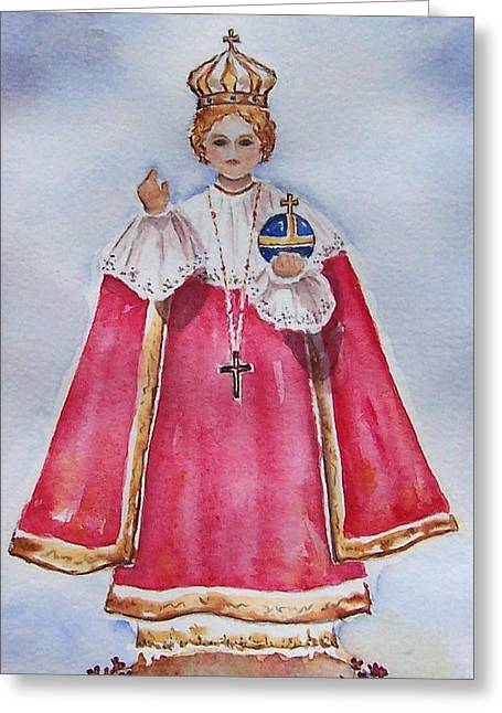 Prague Paintings Greeting Cards - Infant of Prague Greeting Card by Regina Ammerman