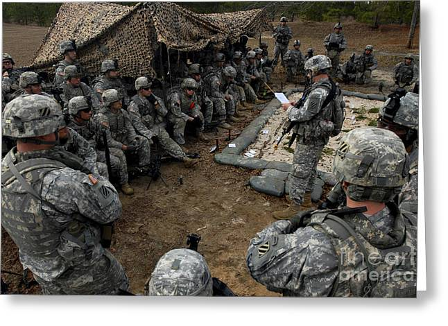 Brigade Greeting Cards - Infantrymen Receive Their Safety Brief Greeting Card by Stocktrek Images