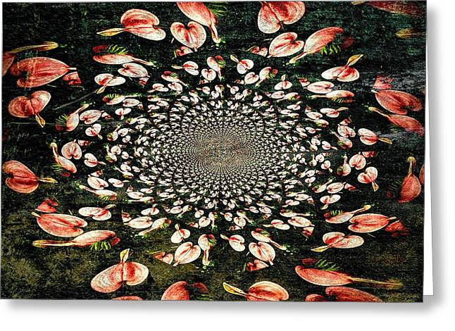 Hypnotic Abstract Greeting Cards - Infinite Heart Abstract  Greeting Card by Chris Berry