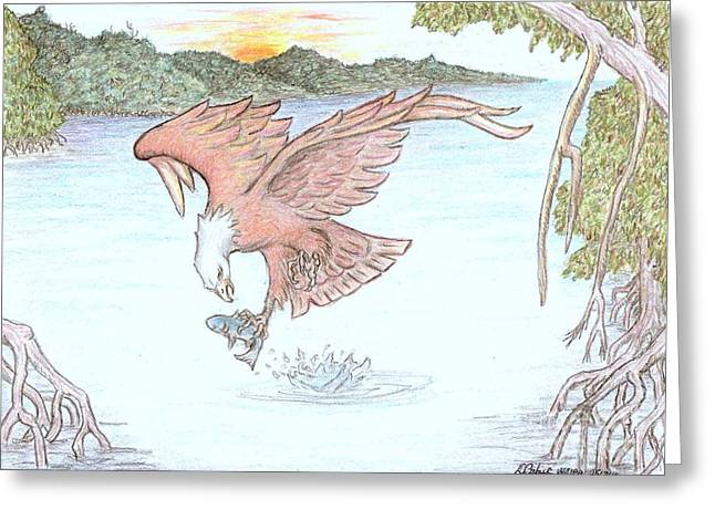 Osprey Drawings Greeting Cards - Inflight meal Greeting Card by Desley Brkic