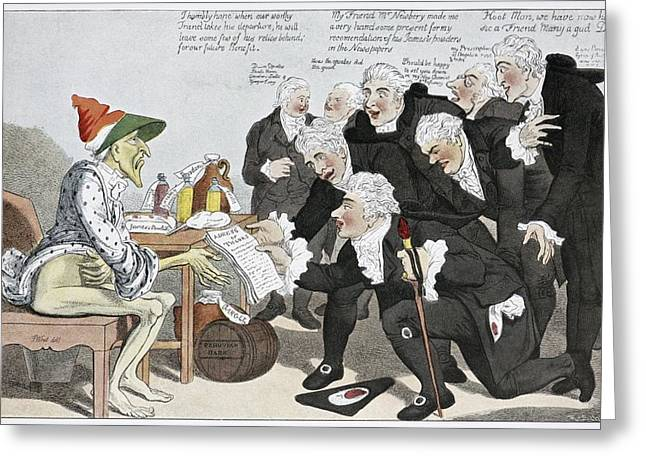 Walter Farquar Greeting Cards - Influenza Epidemic, Satirical Artwork Greeting Card by