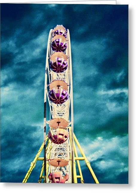 Amusements Digital Art Greeting Cards - infrared Ferris wheel Greeting Card by Stylianos Kleanthous