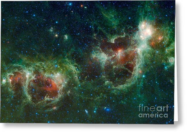 Heart Nebula Greeting Cards - Infrared Mosaic Of The Heart And Soul Greeting Card by Stocktrek Images