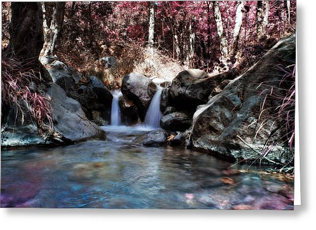 Angles Greeting Cards - Infrared Waterfall Greeting Card by Stylianos Kleanthous