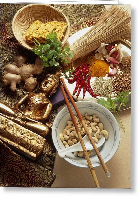 Noodles Greeting Cards - Ingredients For Cooking Thai Food Greeting Card by Erika Craddock