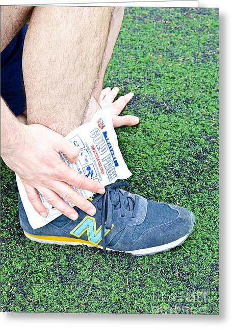 Running Shoe Greeting Cards - Injured Ankle Greeting Card by Photo Researchers