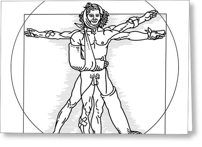 Vitruvian Man Greeting Cards - Injured Vitruvian Man, Conceptual Image Greeting Card by Smetek