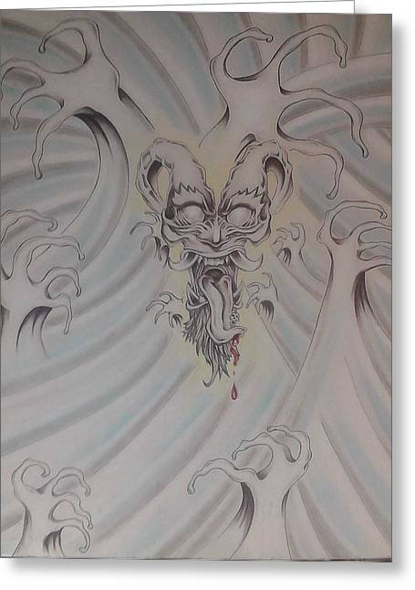 Ink And Pastel Oriental Style Dragon And Waves Greeting Card by Andrew Longhi