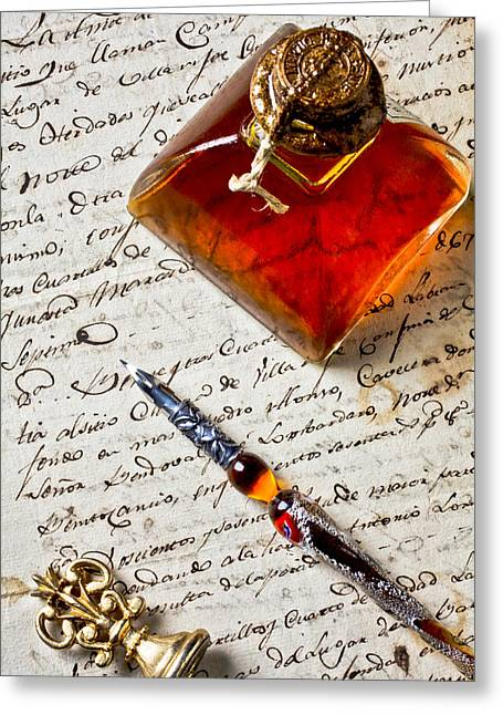 Script Photographs Greeting Cards - Ink bottle and pen  Greeting Card by Garry Gay