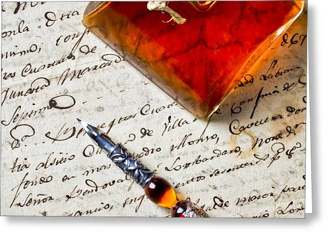 Ink bottle and pen  Greeting Card by Garry Gay