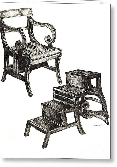 Step Ladder Greeting Cards - Ink drawing of Regency Metamorphic chair Greeting Card by Lee-Ann Adendorff