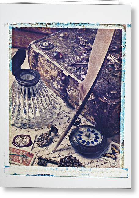 Ink Well And Quill Greeting Card by Garry Gay