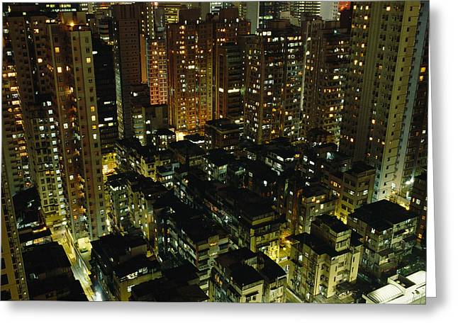 Art Of Building Greeting Cards - Inland View Of Sheung Wan And Central Greeting Card by Justin Guariglia