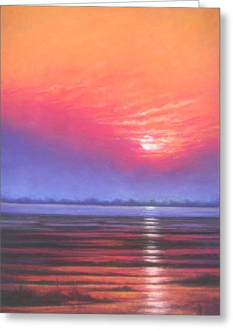 Set Pastels Greeting Cards - Inlet Sunset Greeting Card by Deb Spinella