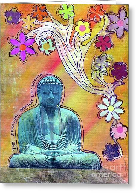 Desiree Paquette Mixed Media Greeting Cards - Inner Bliss Greeting Card by Desiree Paquette