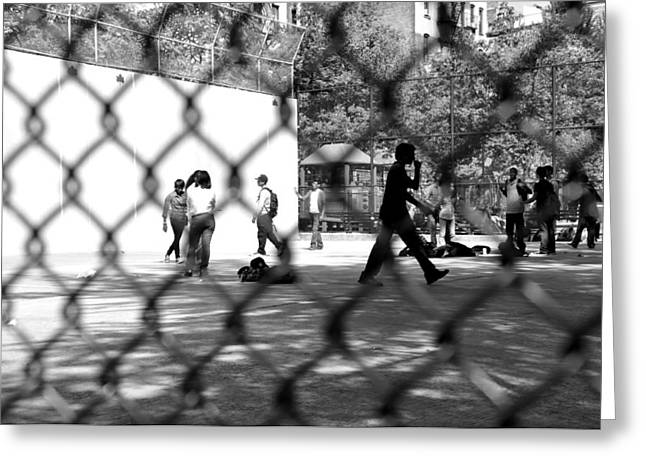 Basketballs Greeting Cards - Inner City Playground Greeting Card by William  Carson Jr