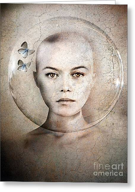Woman Face Greeting Cards - Inner World Greeting Card by Photodream Art
