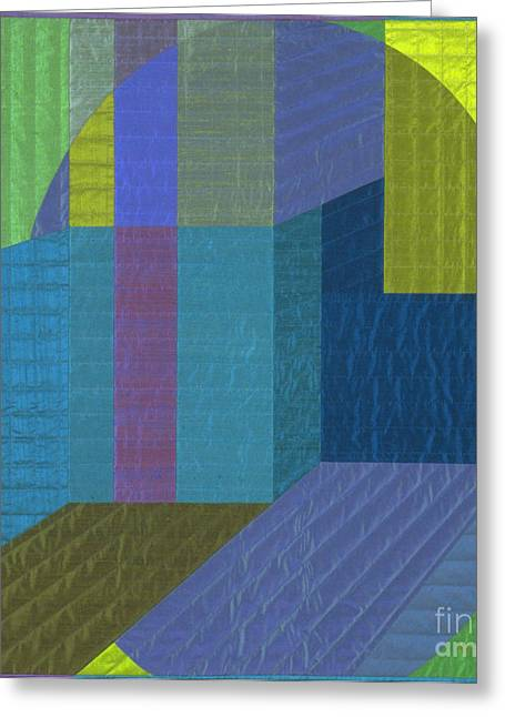 Abstract Quilt Tapestries - Textiles Greeting Cards - Innerspace 5 Greeting Card by Marilyn Henrion