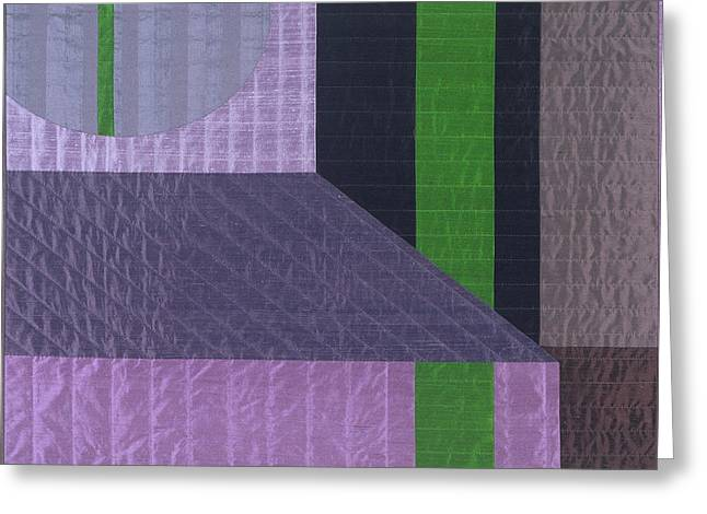 Abstract Quilt Tapestries - Textiles Greeting Cards - Innerspace 6 Greeting Card by Marilyn Henrion