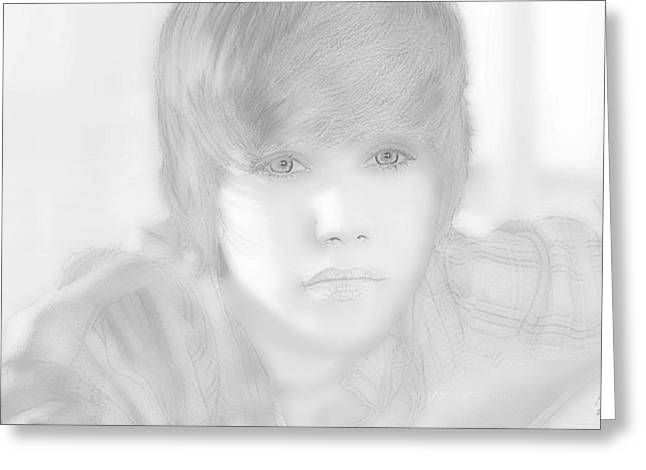 Justin Bieber Drawing Greeting Cards - Innocent eyes of Justin. Greeting Card by Erwin Verhoeven