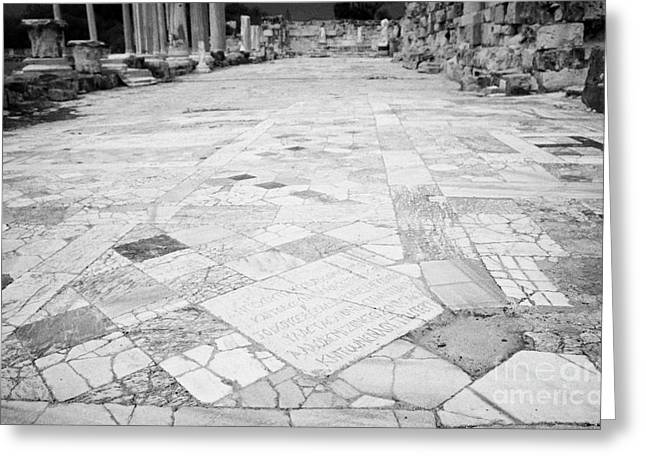inscription in the floor tile of the gymnasium stoa ancient site of salamis famagusta  Greeting Card by Joe Fox