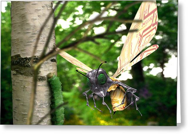 Insect Control Greeting Cards - Insect Robot Greeting Card by Victor Habbick Visions