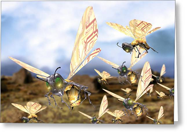 Insect Control Greeting Cards - Insect Robots Greeting Card by Victor Habbick Visions