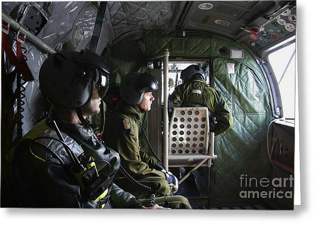 Ch-46 Greeting Cards - Inside A Ch-46 Sea Knight Helicopter Greeting Card by Daniel Karlsson