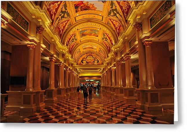 Mixed Age Range Greeting Cards - Inside A Hotel In Las Vegas Greeting Card by Jorge Fajl