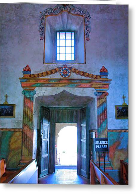 Religion Acrylic Prints Greeting Cards - Inside Mission Santa Barbara Greeting Card by Steven Ainsworth