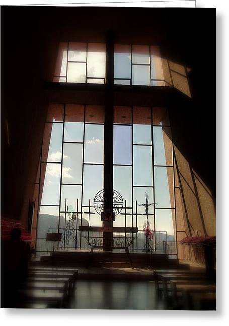 Raw Sienna Greeting Cards - Inside Sedona Chapel of the Holy Cross Greeting Card by Cindy Wright