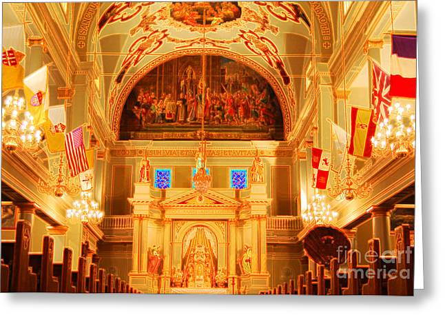 New Orleans Greeting Cards - Inside St louis Cathedral Jackson Square French Quarter New Orleans Accented Edges Digital Art Greeting Card by Shawn O