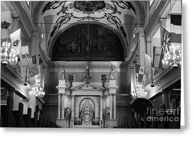 Inside St Louis Cathedral Jackson Square French Quarter New Orleans Black And White Greeting Card by Shawn O'Brien