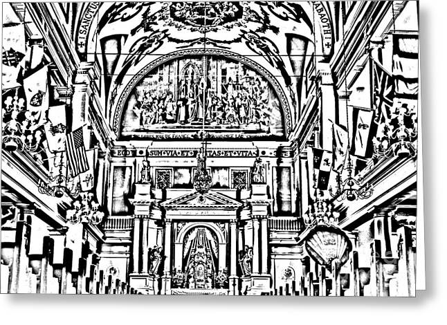 Photocopy Greeting Cards - Inside St louis Cathedral Jackson Square French Quarter New Orleans Photocopy Digital Art Greeting Card by Shawn O