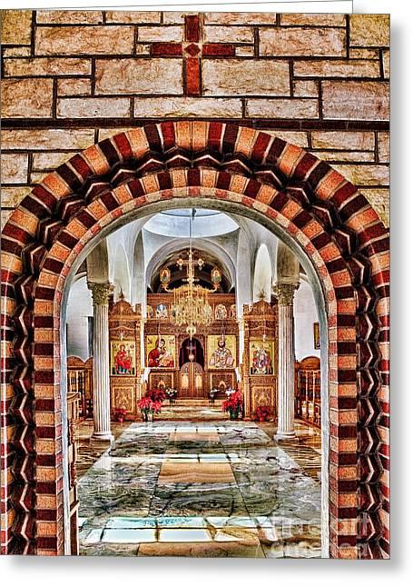 Nicholas Greeting Cards - Inside St. Nicholas Chapel at a Greek Monastary in Florence AZ Greeting Card by Matt Suess
