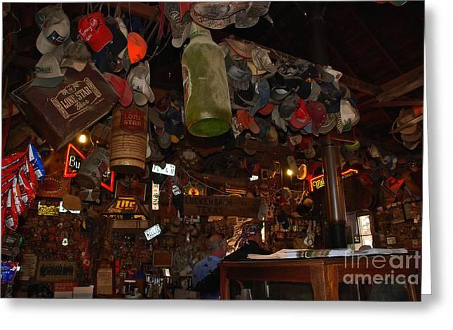 Inside the Bar in Luckenbach TX Greeting Card by Susanne Van Hulst