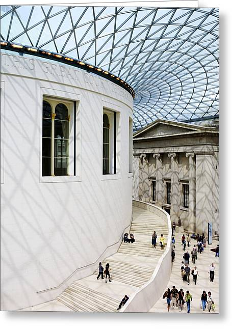 Old And New Greeting Cards - Inside The British Museum Great Court Greeting Card by Justin Guariglia