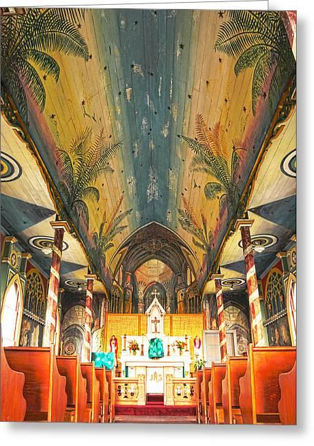 Brian Bonham Greeting Cards - Inside The Painted Church Greeting Card by Brian Bonham