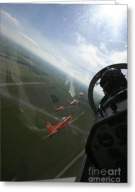 Turboprop Greeting Cards - Inside The Pilatus Pc-7 Turboprop Greeting Card by Daniel Karlsson