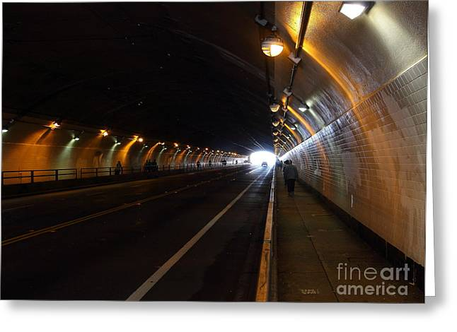 Light At The End Of The Tunnel Greeting Cards - Inside The Stockton Street Tunnel in San Francisco . 7D7363.3 Greeting Card by Wingsdomain Art and Photography
