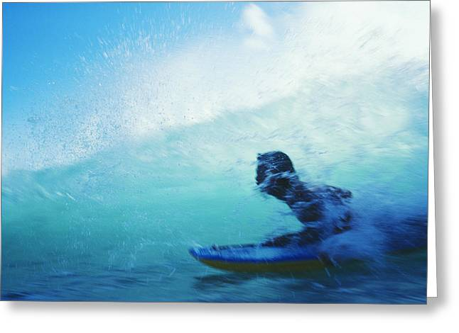 Surfing Art Greeting Cards - Inside The Wave Greeting Card by Bob Abraham - Printscapes